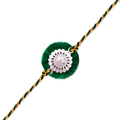 (0106) Milan Jewellers BIS HALLMARKED 99.5% Fine Silver Certified Best Silver Rakhi (Green) (B072MFP4HL) Amazon Price History, Amazon Price Tracker