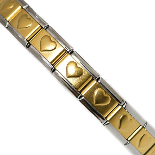 Dolceoro Satin Raised Gold Heart Starter Italian Charm 19 Links Modular Bracelet