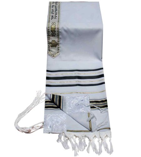 Gold 68 Standard (Acrylic Tallit (imitation Wool) Prayer Shawl in Black and Gold Size 47