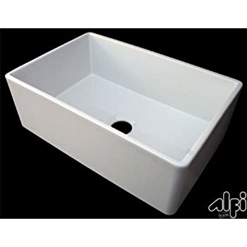 ALFI Brand AB510 30 Inch Contemporary Smooth Fireclay Farmhouse Kitchen Sink,  White