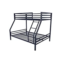 Bedroom Novogratz Maxwell Twin/Full Metal Bunk Bed, Sturdy Metal Frame with Ladder and Safety Rails, Navy Blue bunk beds