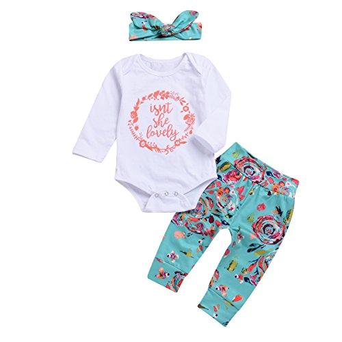 Baby Girl Isn't She Lovely Romper Long Sleeve Bodysuit + Floral Pants + Headband 3Pcs Clothes Set (0-6 M, ()