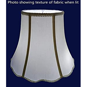 American Pride 8″x 16″x 12″ Scallop Soft Shantung Tailored Lampshade, Eggshell