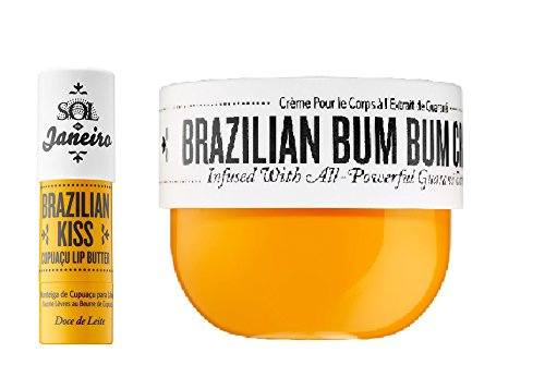 Brazilian Bum Bum Cream 8 oz and Brazilian Kiss Lip Butter - Bundle