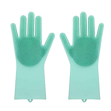 Magic Silicone Dish Washing Reusable Gloves with Scrubbers(13.6  Large), Heat Resistant, for Cleaning, Household, Dish Washing, Washing The Car,Pet (Green)