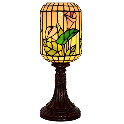 (Tiffany Style Table Lamp/Stained Glass Lantern Table Lamp Living Room Bedroom Decoration Lamps 110-240V/E271,MAX40W)