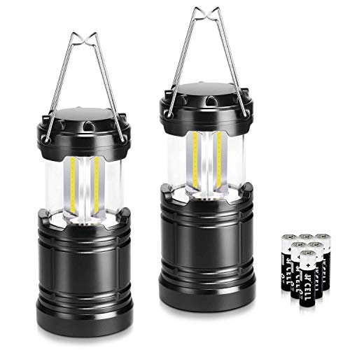 LETMY 2 Pack Camping Lantern with 6 AA Batteries - Magnetic Base - Collapsible, Waterproof New COB LED Lantern - Best Taclight Lantern for Gift, Camping, Hiking, Emergency, Hurricane, Power Outage