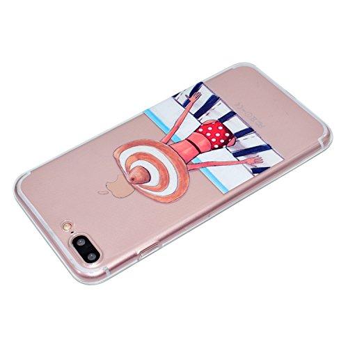 Coque iPhone 8 Plus,Tapis fille Premium Gel TPU Souple Silicone Transparent Clair Bumper Protection Housse Arrière Étui Pour Apple iPhone 8 Plus + Deux cadeau