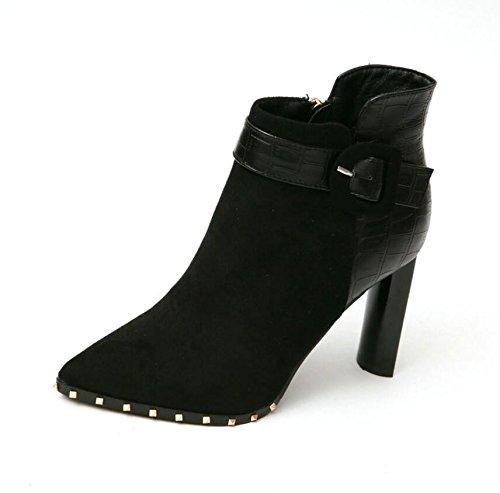 De 9Cm La Boots Couture Clip Épais Satin Coton Chaussures Bottes Pointe Ceinture Bottes Martin Velours 37 Plus Bare L'Air Rivet Noir La KHSKX Avec De CI1dFwqF