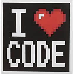 3dRose Geeky Old School Pixelated Pixels 8-Bit I Heart I Love Code Greeting Cards, Set of 6 (gc_118871_1)
