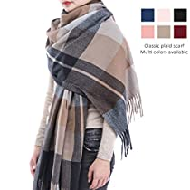 Blanket Cashmere Plaid Scarf for Women - 2019 Fashion Pashmina Tartan Wrap Shawl