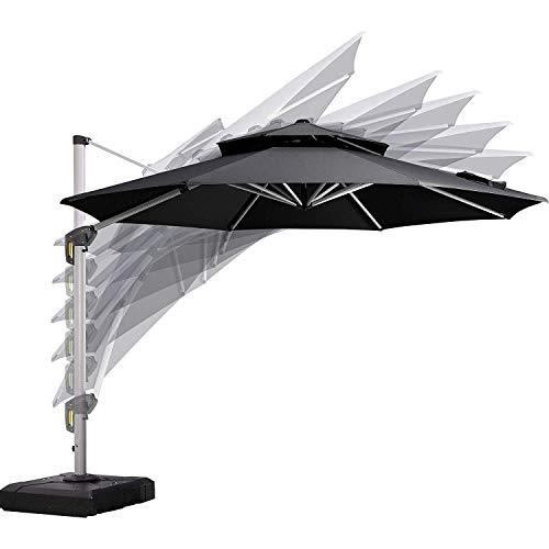 PURPLE LEAF 11 Feet Double Top Deluxe Patio Umbrella Offset Hanging Umbrella Outdoor Market Umbrella Garden Umbrella, Black (Depot Out Furniture Patio Door Home)