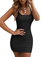 BEAGIMEG Women's Sexy Ruched Backless Bodycon Spaghetti Strap Mini Club Dress