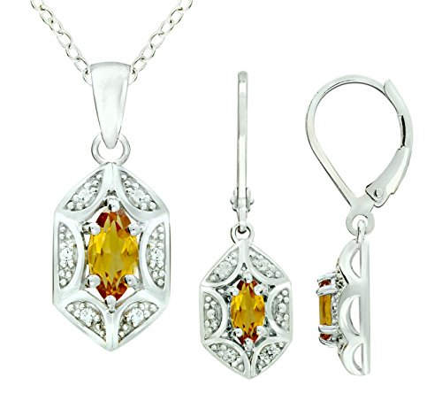 (RB Gems Sterling Silver 925 Jewelry Set Genuine Gemstone Marquise 1 Ct, Rhodium-Plated Finish, 2 Pcs Set (Citrine))