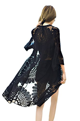 Womens Floral Chiffon Lace Beach Swimsuit Cover Up for Bikini Dresses Swimwear (One Size, Black)