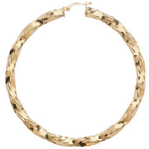 Boucles d'oreilles créoles en or 9carats de découpe diamant