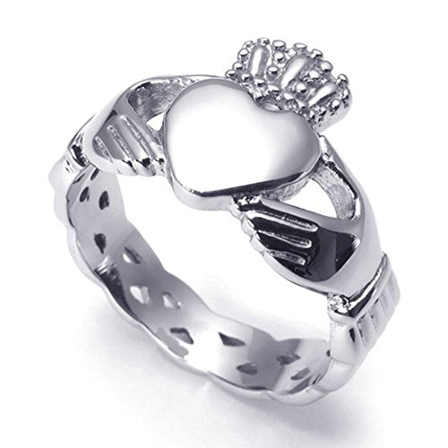 TEMEGO Jewelry Womens Stainless Steel Ring, Claddagh Heart Crown Wedding Band, (Crown Claddagh Ring)