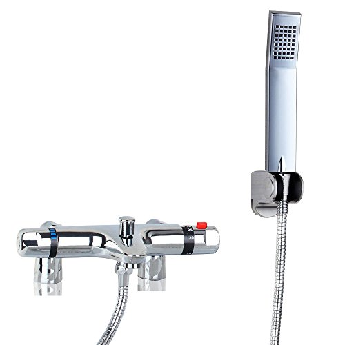 OUBONI Thermostatic Bathroom Shower Faucet Showering Mixer Wall Mount, Polished Chrome Hot Cold Water Mixer Constant Temperature Control Mix Water Valve with Copper Valve Core OUBONI Trade Co., Ltd.
