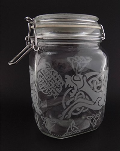 IncisoArt Hand Etched Glass Jar Airtight Canister Sandblasted (Sand Carved) Handmade Engraved Locking Wire Clamp Lid (38 Ounce, Celtic Dragon Celtic Knot)