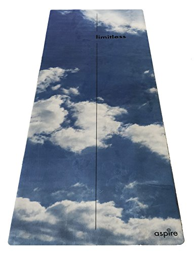 ASPIRE Limitless TRAVEL YOGA MAT - Eco-Friendly, Non Slip, Two Sided Microsuede and Rubber, Lightweight and Foldable - 72'' x 24'' 1mm Mat by Aspire Yoga Gear