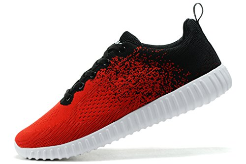 KESUBAO Men's Knit Breathable Casual Sneakers Lightweight Athletic Tennis Walking Outdoor Sports Running Shoes (12US/46EU, Red-Black)