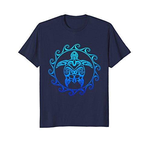 Mens Ocean Blue Tribal Hawaiian Sea Turtle T-shirt 2XL (Sea Graphic)