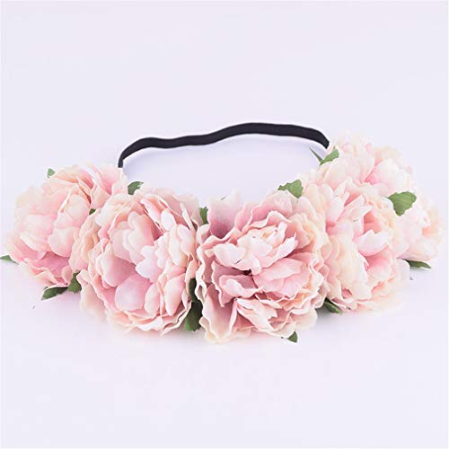(Fabric Peony Wildflower Headband Headwrap Elegant Flower Crown Romantic Bridesmaid Floral Crown Boho Rustic Wedding 11)