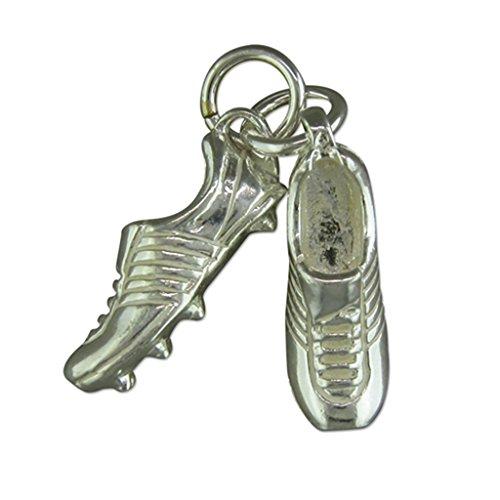 Bottes de Football pour Homme Argent Sterling Collier Pendentif sur un cordon en cuir noir