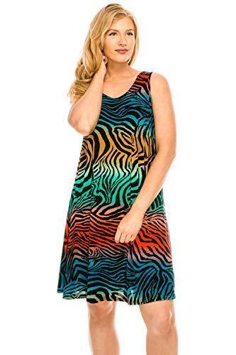 - Jostar Women's Stretchy Missy Tank Dress Print Small Multi Animal