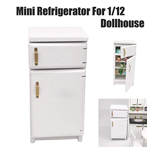 Euone  Miniature Refrigerator, Mini Dollhouse Furniture Refrigerator Miniature Living Room Pretend Play Toy from Euone
