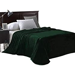 "Exclusivo Mezcla Luxury Queen Size Flannel Velvet Plush Solid Bed Blanket as Bedspread/Coverlet/ Bed Cover (90"" x 90"", Forest Green) - Soft, Lightweight, Warm and Cozy"