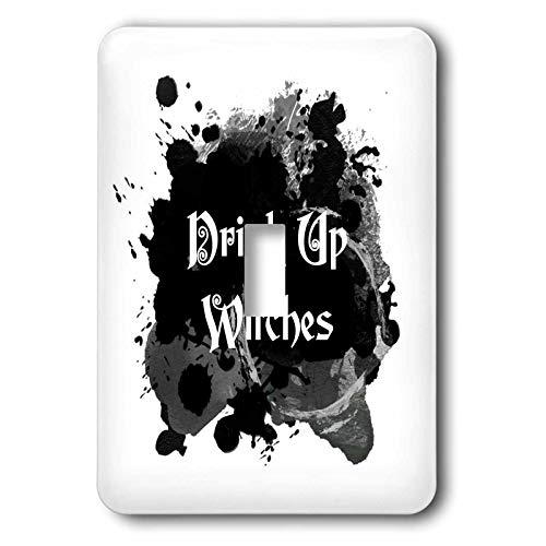 3dRose InspirationzStore - Occasions - Drink Up Witches - witch brew Halloween witchs potion black ink splat - double toggle switch (lsp_317318_2) -