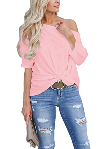 EZBELLE Women's Summer Waffle Knit Tunic Blouse Sexy Off The Shoulder Tops Knot Batwing T Shirt Pink 2X-Large(19/20)