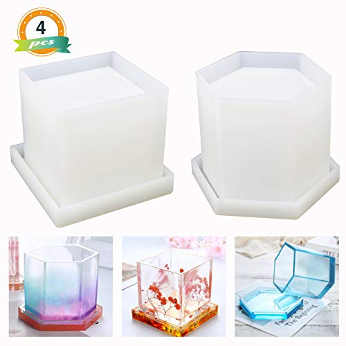 Large Resin Molds LET'S RESIN Epoxy Resin Molds, Large Pen Holder Silicone Molds 2Pcs, Hexagon and Square Silicone Molds for Resin Coaster/Flower Pot/Pen Holder/Candle Holder etc