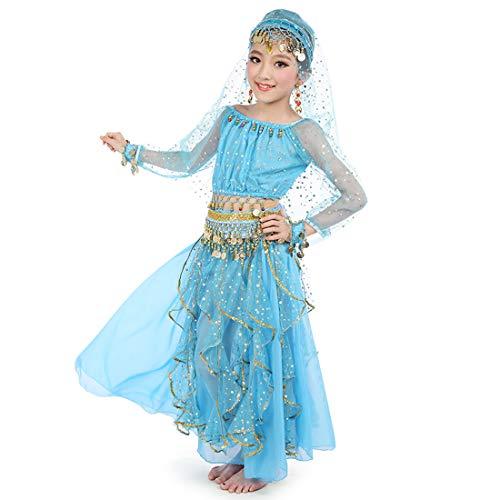 Maylong Girls Long Sleeve Arabian Princess Dress up Halloween Costume DW49 (Large, Sky Blue) -