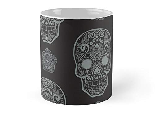 Shield Won Mug Skull day of the dead death muerte mask bone head black white. mystery calavera halloween dia de los muertos ornament. native traditional mexican seamless pattern Mug - 11oz Mug ()