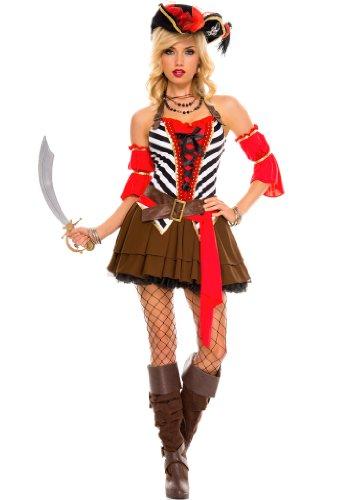 4 PC. Ladies' Private Pirate Dress Costume Set - - (Womens Private Pirate Costumes)