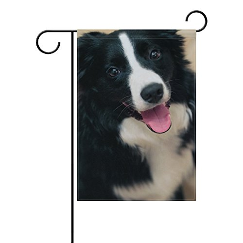 Hokkien Black and White Border Collie Dogs Garden Flag Banner 12 x 18 Inch Decorative Garden Flag for Outdoor Lawn and Garden Home Décor Double-Sided