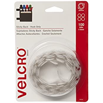 """VELCRO Brand - Sticky Back - 5/8"""" Coins, Hook Side Only, 100ct - White"""