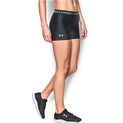 Under Armour Women's HeatGear Armour Shorty, Black (001)/Metallic Silver, Large