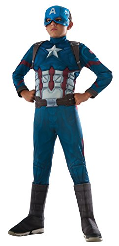 UHC Boy's Captain America Superhero Outfit Kids Halloween Costume, M (8-10) (Captain America Boot Covers)