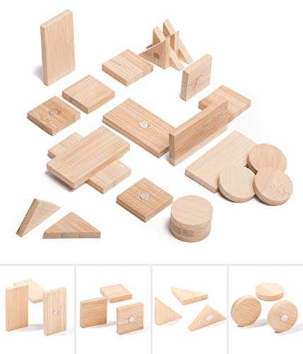Fridge and Whiteboard Magnets Made of Bamboo - 4 Different Shapes - Circle, Square, Rectangle and Triangle - Beautiful, Cute and Unique Wooden Refrigerator and Office Magnets - Mixed 24 Pack