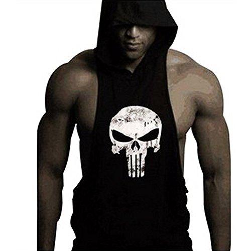 Gym Sleeveless (Men's Sleeveless Hoodie Tank Top Skull Fitness Gym Workout Shirt(black))