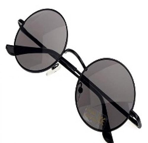 Men's Women's Hippie Shades Hippy 60S John Lennon Style Vintage Round Peace Sunglasses (Black)