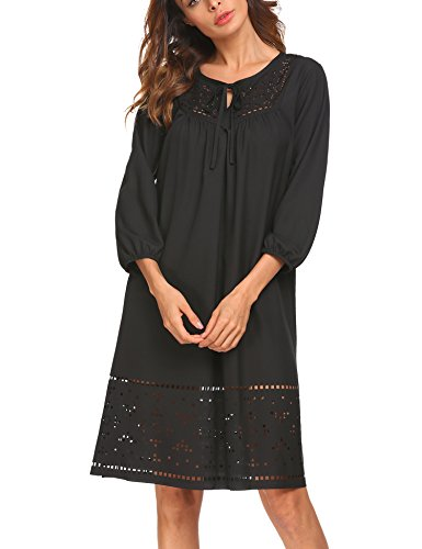 SE MIU Women Simple Half Sleeve Shift V Neck Fall Casual Loose Dress, Black, XL