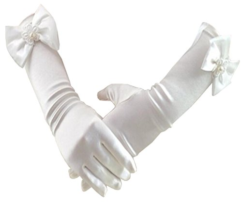 Niyage Flower Girl Gloves Special Occasion Formal Wedding Pageant Party Gloves (Age 2-5, 1Beige) by Niyage
