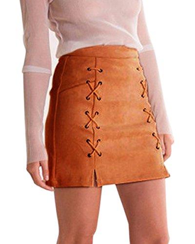 Minetom Jupe Femme en Daim Taille Haute Jupe A-Ligne Mini Jupe Bandage Crayon Casual Skirt Brun