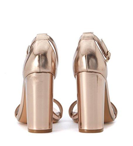 sandali tacco 80 donna steve madden pelle laminata Dorado