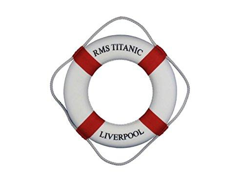 "Hampton Nautical RMS Titanic 15""-Red-Nautical Lifering Decoration"