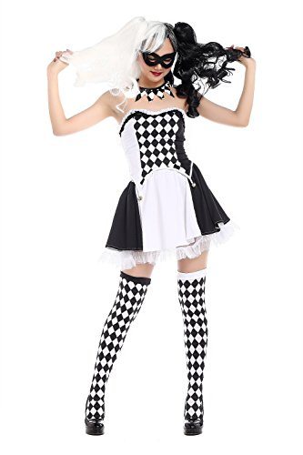 [ZNFQC Women's Circus Clown Halloween Costume Joker Role Playing Party (Black-1)] (Giggles The Sexy Clown Adult Costumes)